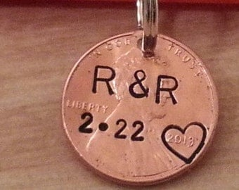 CUSTOM PERSONALIZED PENNY pendant custom name and date handstamped anniversary gift lucky penny