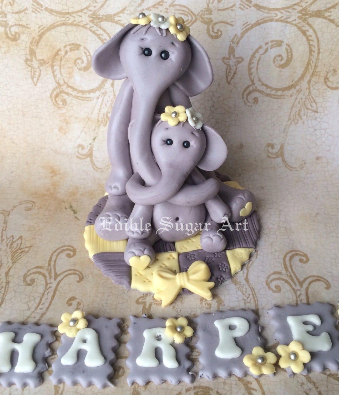 elephant cake topper fondant baby shower cake topper safari
