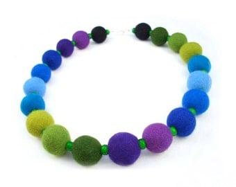 Felted Necklace Felt collar Rainbow Collar Blue Collar felt rainbow necklace silk fairy floral Fiber Art boho