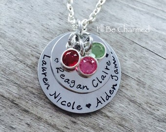 Hand Stamped - Personalized Jewelry - Mom Necklace - Grandma - Birthstones Jewelry - Personalized - Necklace - Jewelry - Gifts for her