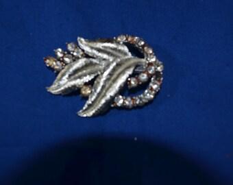 ON SALE  Vintage Leaf Brooch with Rhinestones