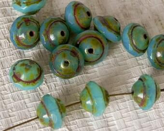 8x10mm Aqua Opalite Saturn Beads - Czech Glass Saturn Bead - 891 - 12 beads
