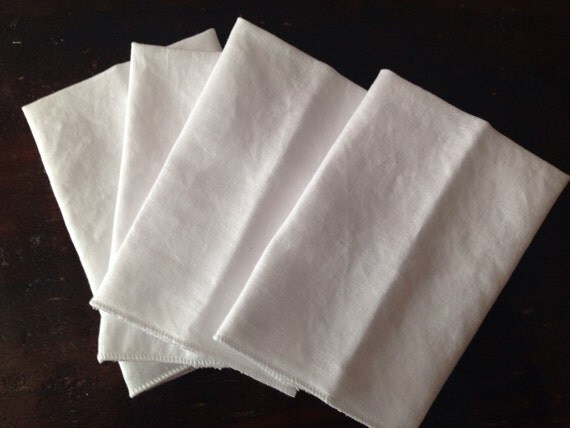 Handkerchiefs Set of 4 with a Clean White Surged Edge