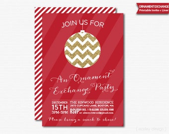 Ornament Exchange Party Invitation Printable Digital Invite Gold Glitter Red Stripes Holiday Party Christmas Invitation Holiday Invitation