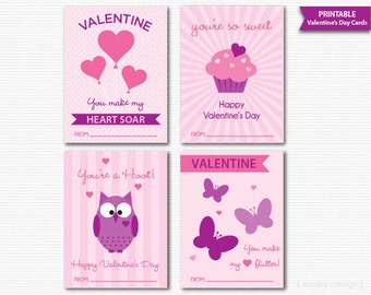 Valentine's Cards Classroom Valentines Girls Valentines Valentines Tags Kids Valentines Printable Instant Download Digital Valentine Fill In