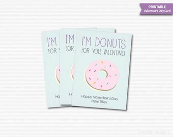 Donuts for You Valentine's Day Cards Kids Valentines Cards Classroom Valentines Valentines Donuts Printable Valentines Digital Personalized