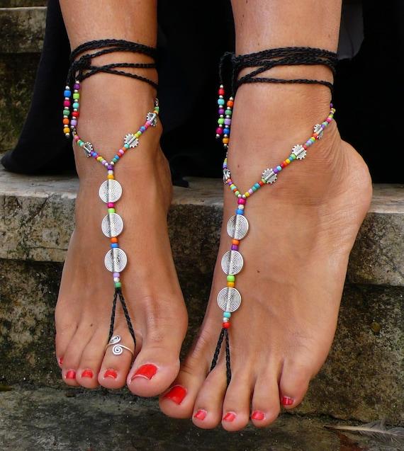 Black Spiral Barefoot Sandals Foot Jewelry Hippie Sandals Toe