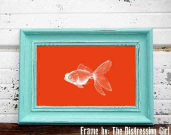 Digital Download, Orange Goldfish, Modern Art  Print