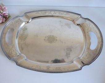 "Beautiful Early 1900s Chippendale Silverplate Monogrammed Tray - 24"" Silverplate Tray with Ornate Handles - Monogrammed EMTM"