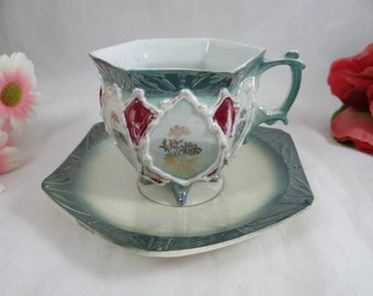 Vintage 6 Sided Majolica Teacup and Saucer set - Delightful Tea Cup