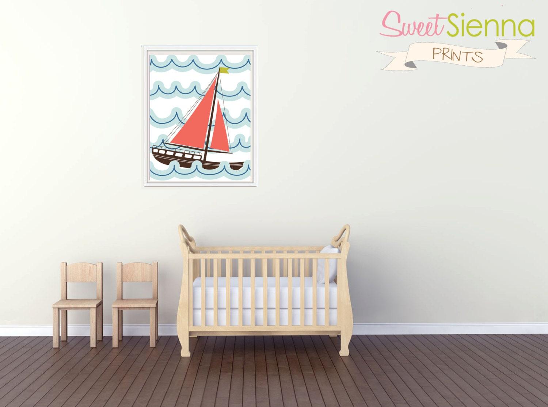 Nautical Theme Sail Boat Nursery decor by SweetSiennaPrints