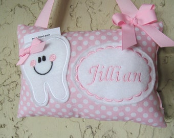 Pastel Pink Polka Dot Tooth Fairy Pillow Personalized
