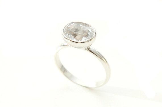SAMPLE SALE- Size 7.75, Brilliant oval white topaz Ring in sterling silver