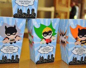 Flying Super Heroes Batman party popcorn boxes with Batman, Robin, Batgirl, Cat Girl superhero birthday party favor or treat box