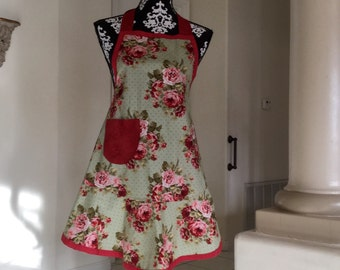 Vintage red and green floral apron