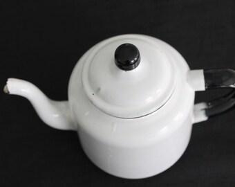 Vintage Farmhouse White & Black Enamelware Teapot Tea Pot