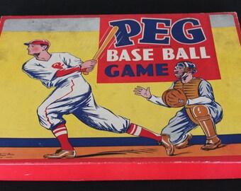 Vintage Parker Brothers Peg Basebll Game Original Box Instructions