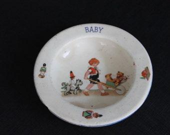 Vintage Baby Bowl Child Teddy Bear Cart Dog Czechslovakia