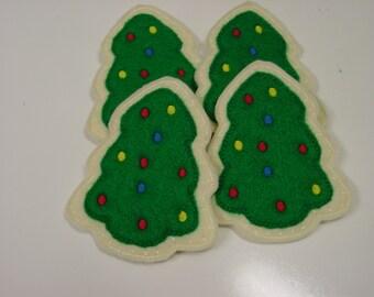 Felt Food - 4 Piece Christmas Tree Cookies Set Felt Play Food