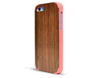 Wood iPhone 5C Case Pink - Handcrafted Real Walnut iPhone 5C Case - 5CWP