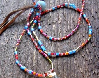 Quartz Point Necklace Beaded Bohemian Jewelry,Boho Jewelry