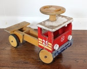 Vintage Handcrafted Wood Firetruck - Firetruck Toy