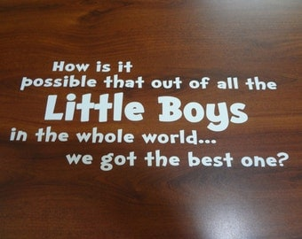 Wall Decal How Is It Out Of All The Little Boys Girls In The World We Got The Best One One's Bedroom Wall Art Decor Room Sticker Child Kids