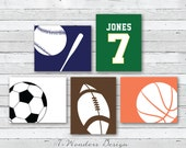 Boys Toddlers Teens Sports Wall Art Prints // Personalized Sports Wall Art // Basketball, Football ... // Set of (5) 5x7 or 8x10 - UNFRAMED