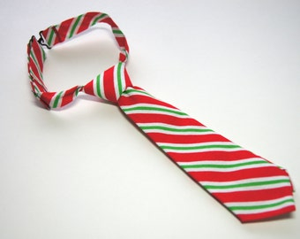 Red, Green and White Striped Neck Tie With Adjustable Strap