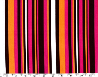1 yard 18 inches, Hollytek for JF by Hoffman CA Fabrics Brown, Pink, Orange and White Stripe