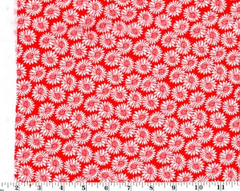 1 Yard 13 in, Packed White Flowers on Red Cotton