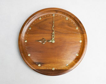 Wooden Wall Clock - Beautiful Wood Grain with Brass Hands and Number Markers Battery Operated
