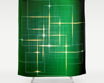 Green Curtain Green Shower Curtain Art Curtain Abstract Curtain Green IT Pattern Curtain Techno Shower Curtain IT Curtain 71x74 curtain