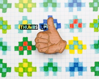 thumbs up (or down?) brooch - a wooden, laser cut lapel pin for good days and bad