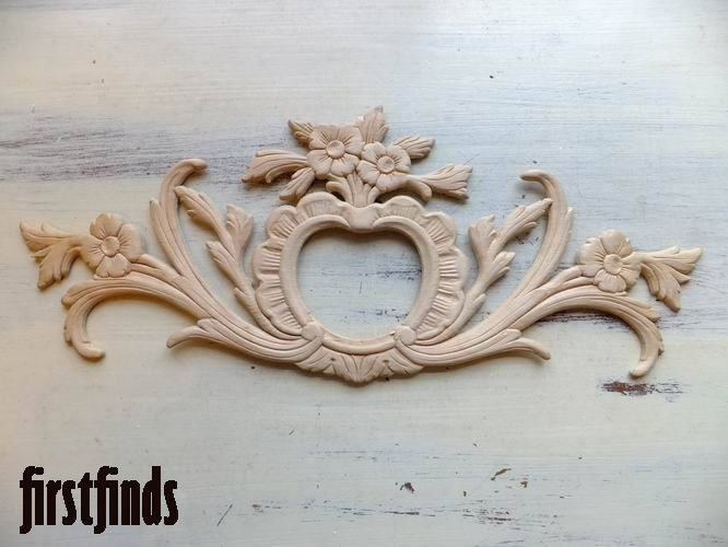 1 Large Heart Wood Applique Furniture Door Drawer Dresser