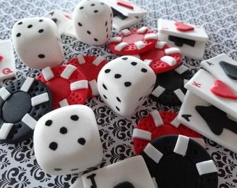 2 dozen fondant cupcake/cake toppers, Las Vegas/Casino/Gambling/Poker party, fondant dice, poker chips, playing cards, adult party