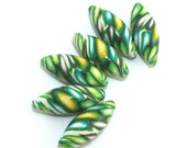 Beads in green and yellow, 6 polymer clay marquise beads for Jewelry making, craft supplies