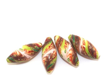 Marquise beads, polymer clay beads, orange, green and brown beads, set of 4 elegant beads in abstract pattern