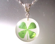 Four Leaf Clover Lucky Real Pressed Irish Resin Pendant Necklace