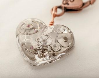 Steampunk Heart & Gears pendant clip