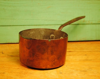 Antique FRENCH COPPER saucepan handcrafted hand forged tin lined patina and lovely design needs a good polish Copper Tin Kitchen Saucepan