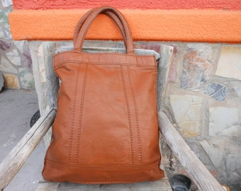 Vintage Brown Large Leather Tote Shopper Bags DISTRESSED