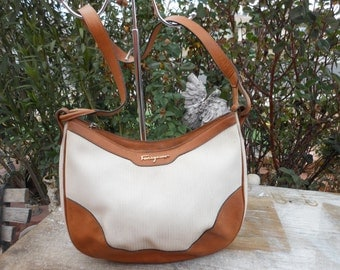 Genuine Vintage SALVATORE FERRAGAMO White/Brown Leather Shoulder Bag Hobo