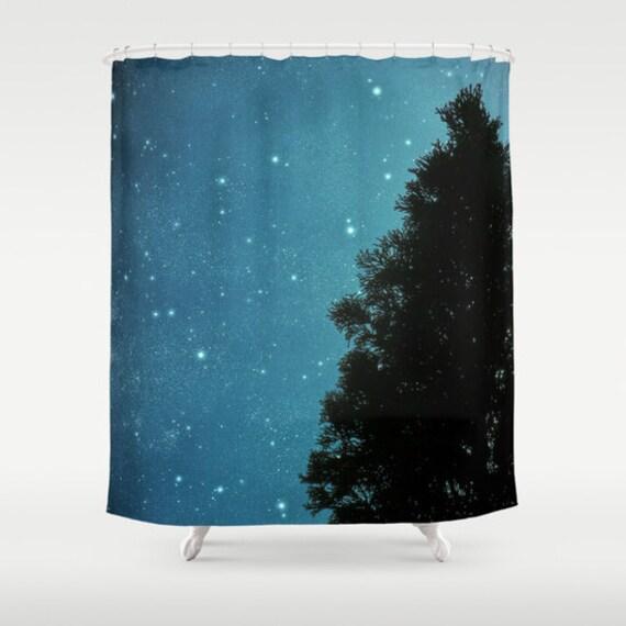 Fabric shower curtain star light star bright tree for Star curtain fabric