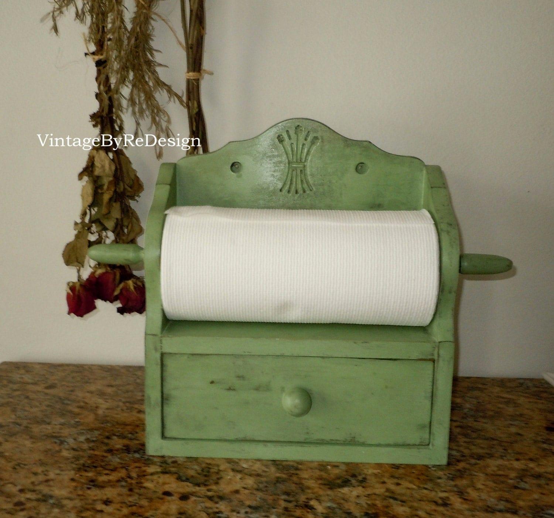 Vintage Towel Storage: Vintage Paper Towel Holder With Drawer. Hand Painted In