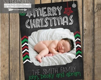 Red and Green Chevron Christmas Card
