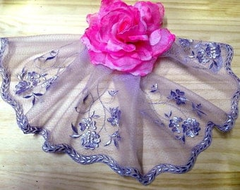"""DN657-  6"""" Lilac Embroidered  Tulle Mesh Lace /Bridal/Lolita/Trim by Yard"""