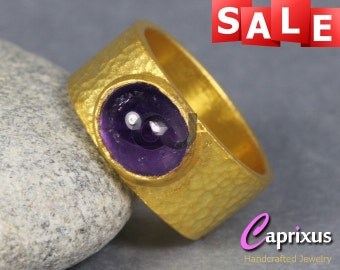 SALE 30% OFF - Artisan Handcrafted Natural Cabochon Amethyst Hammered Wide Ring, 24K Gold Vermeil Over 925K Sterling Silver Gemstone Ring
