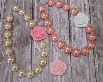 Baby Chunky Necklace, Ivory and Light Pink, Infant Toddler Girl Baby, Cake Smash, First 1st Birthday