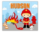 Fireman Personalized Puzzle - Cute Little Boy Fireman, Fire Dog and Fire, You Pick Hair Eye Color Fire Man Puzzle - Kids Personalized Gift